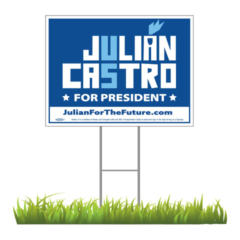 "Julián Castro For President 2020 Blue Yard Sign 24"" x 18"""