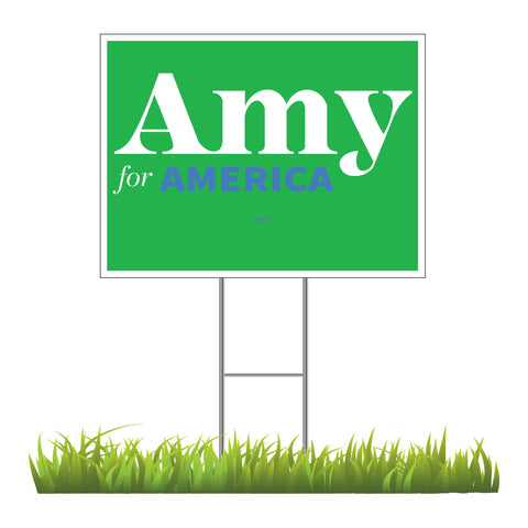 "Amy Klobuchar for America 2020 Green Yard Sign 24"" x 18"""
