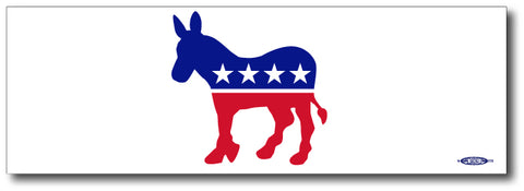 Democrat - Red, White & Blue Donkey Bumper Sticker