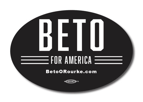 Beto for America Black Oval Bumper Sticker