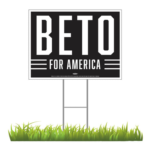 "Beto for America Black Yard Sign 24"" x 18"""