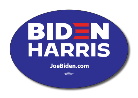 Biden Harris 2020 Blue Oval Bumper Sticker