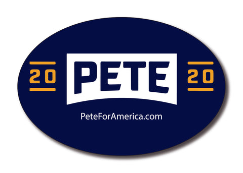 Pete 2020 Navy Oval Bumper Sticker