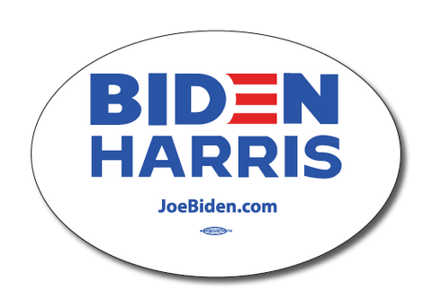 Biden Harris 2020 White Oval Bumper Sticker