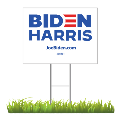 "Biden Harris 2020 White Yard Sign 24"" x 18"""