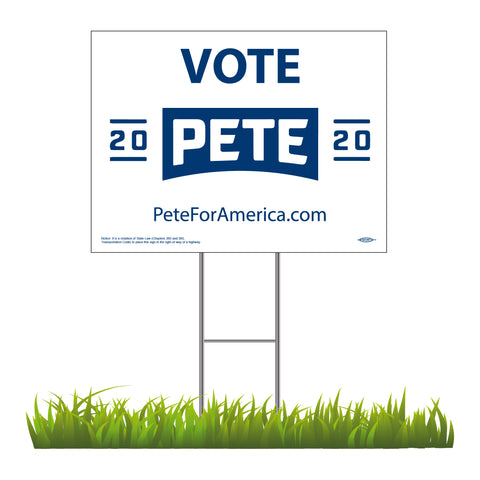"Pete 2020 White Yard Sign 24"" x 18"""