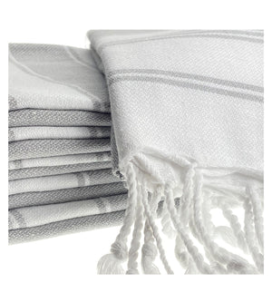 Organic Turkish Peshtemal Hand Towel Grey Stripes