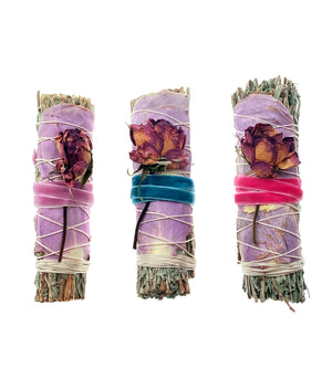 Blue Sage + Rose Smudge Stick