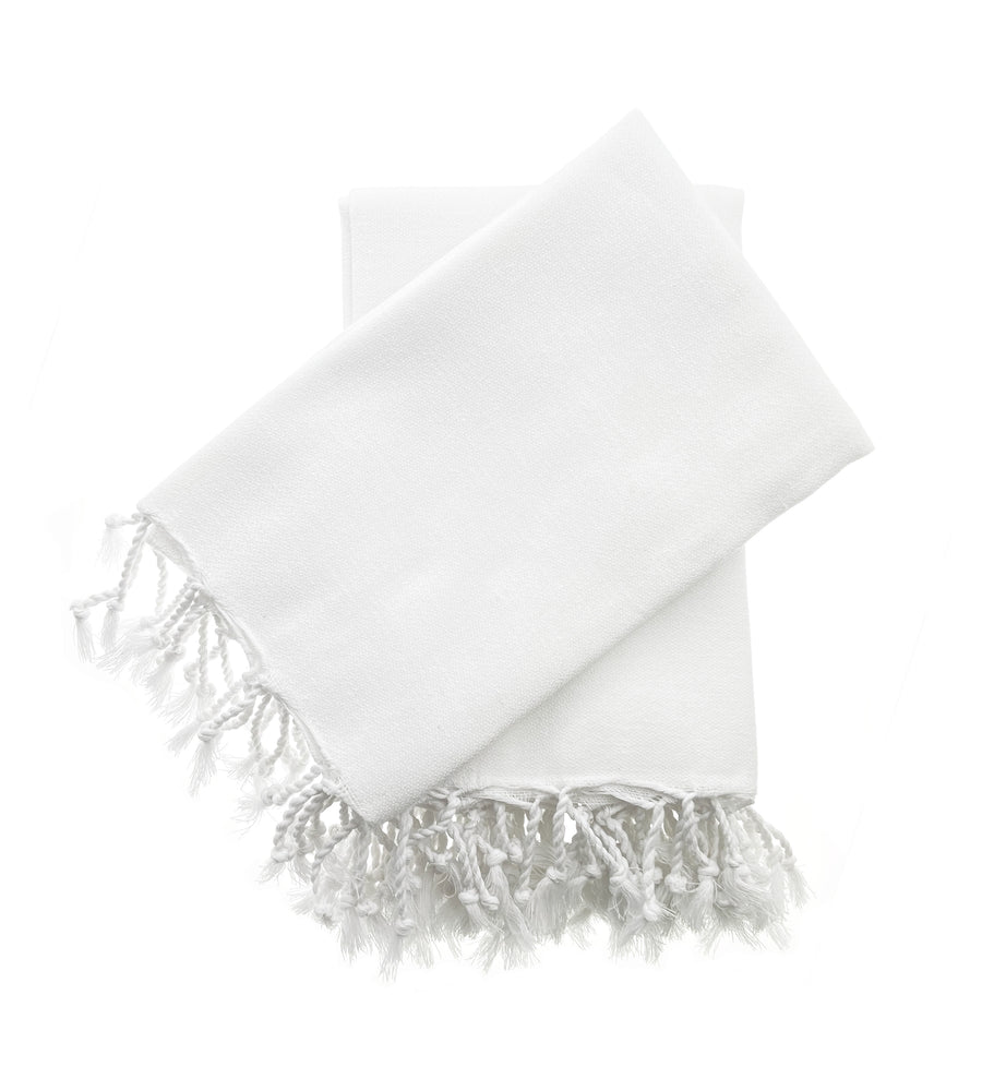Organic Turkish Peshtemal Hand Towel Bright White