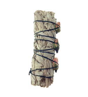 White Sage + Rose Buds Smudge Stick