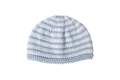 Hand Knit Striped Sky Blue Hat