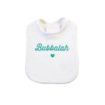 Green infant baby newborn clothing bib with Yiddish design