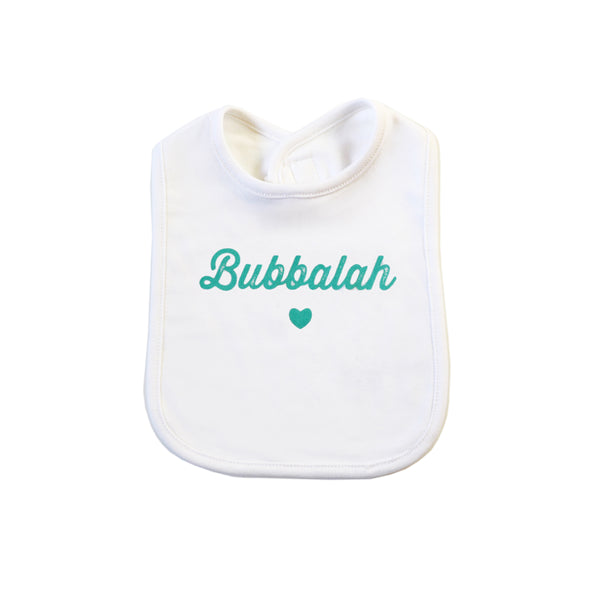 Bubbalah White Bib with Mint ink
