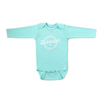 Green infant baby newborn clothing long-sleeved onesie with Yiddish design