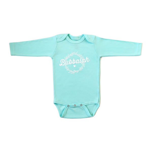 Bubbalah Solid Mint Long-Sleeved Onesie