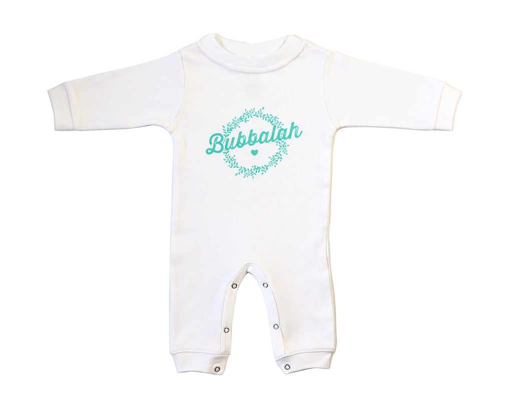Green infant baby newborn clothing sleep and play with Yiddish design