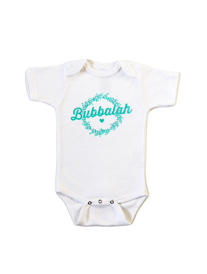 Green infant baby newborn clothing onesie with Yiddish design.