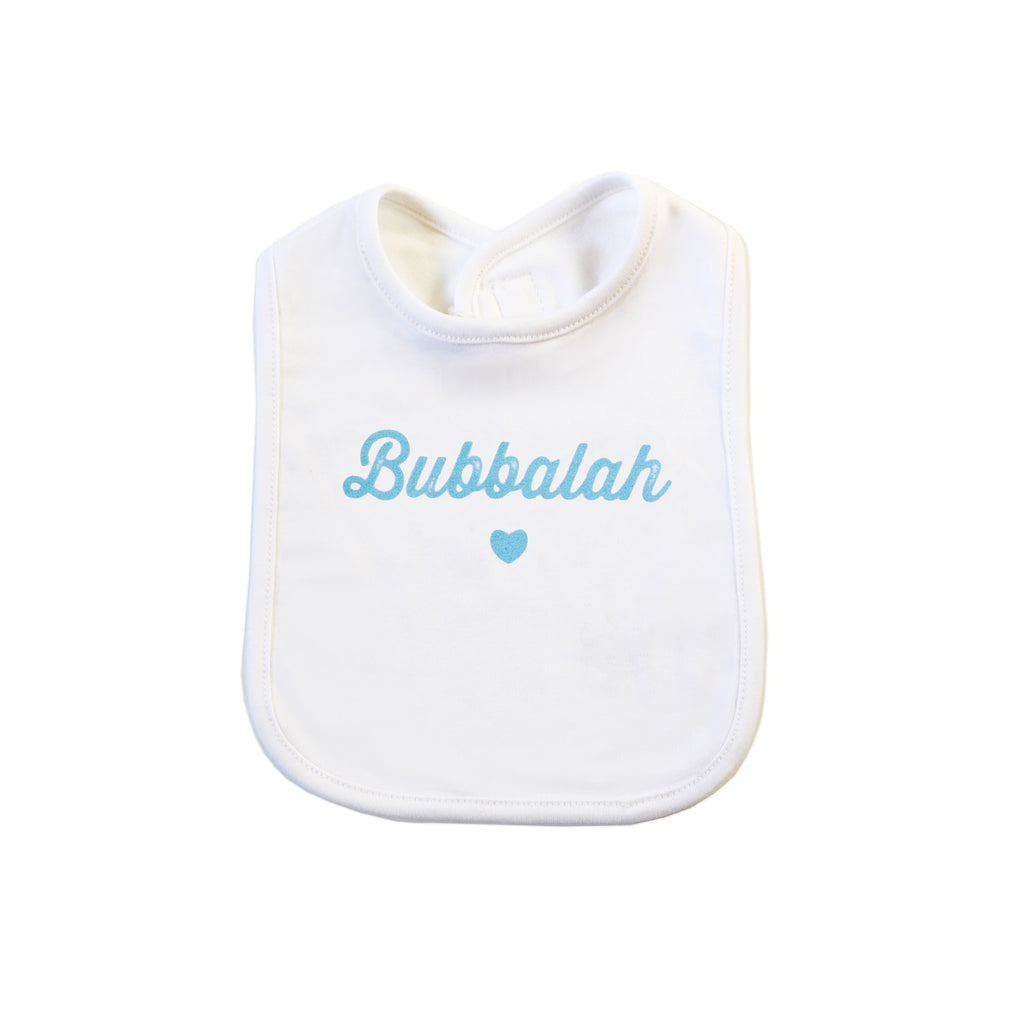 Bubbalah White Bib with Sky Blue Ink