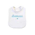 White Bubbalah Bib with Sky Ink