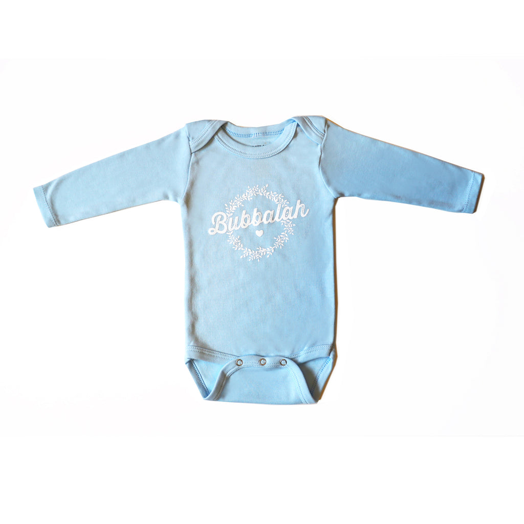 Bubbalah Solid Sky Blue Long-Sleeved Onesie