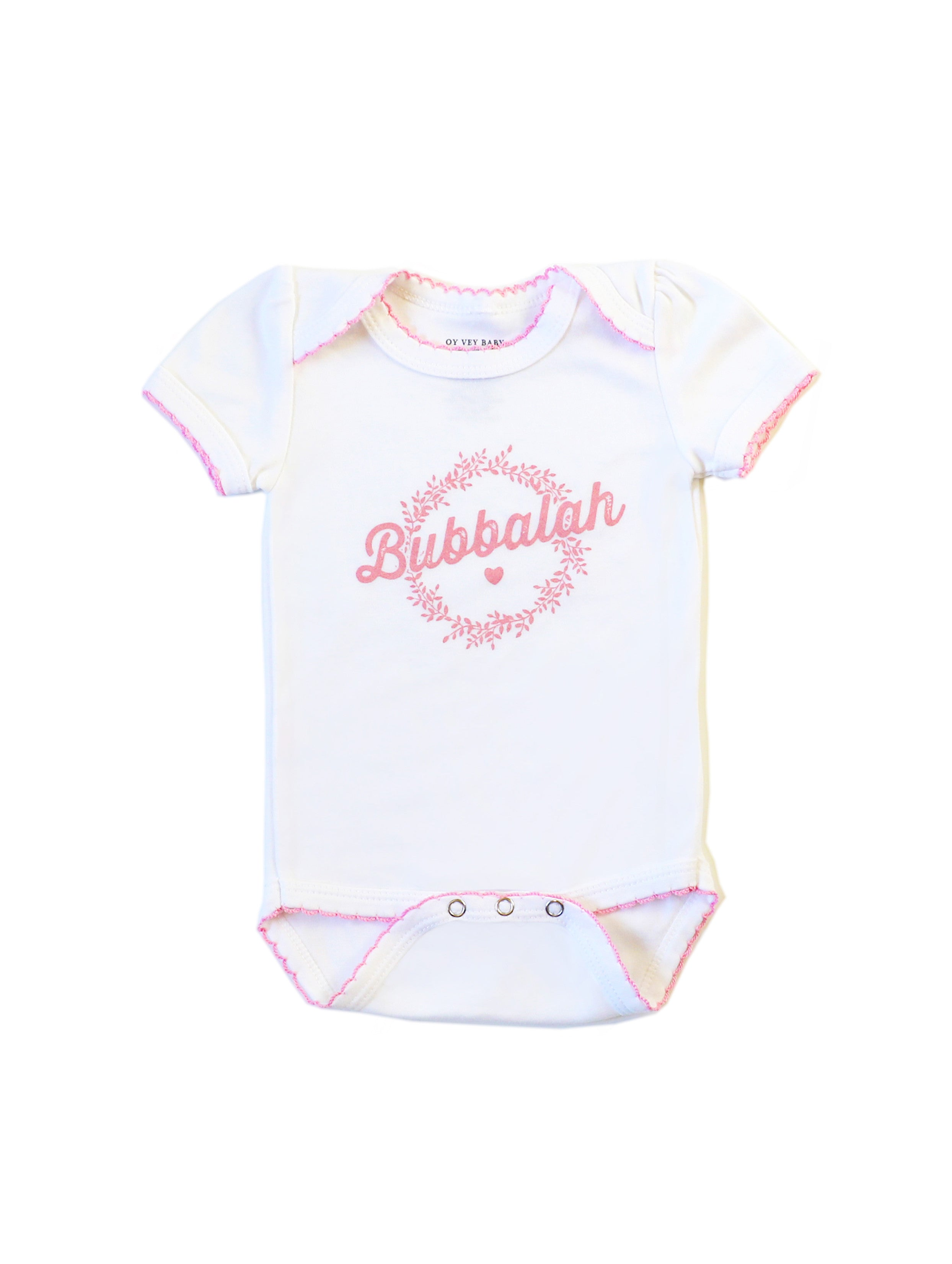 White Short-Sleeve Bubbalah Onesie with Rose Trim and Rose Ink