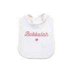 White Bubbalah Bib with Rose ink