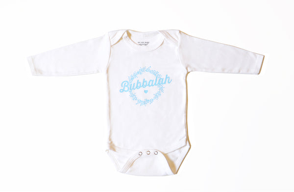 Bubbalah Long Sleeve Onesie with Sky Blue ink
