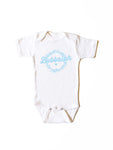 Bubbalah White Short-Sleeve Onesie in Sky Blue ink