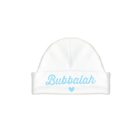 Bubbalah White hat with Sky Blue ink