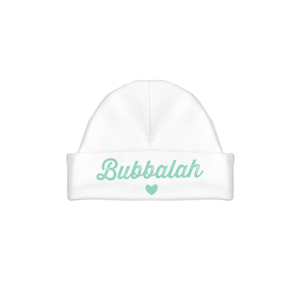 Bubbalah White Hat with Mint Green ink