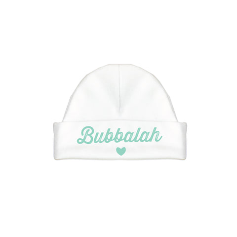 Green infant baby newborn clothing hat with Yiddish design