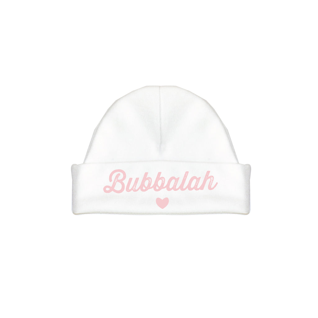 Pink infant newborn baby hat cap with Yiddish design saying.