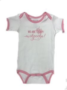We are Mishpocha Rose Petal Ringer Onesie