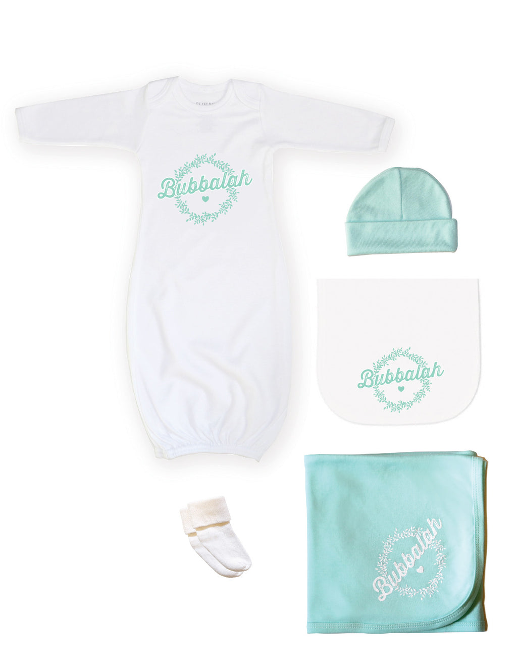 Green infant newborn baby clothing gift set with gown, hat, socks, blanket, burp cloth with Yiddish design saying