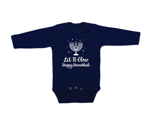 Hanukkah Let It Glow Long-Sleeved Navy Onesie