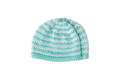 Hand Knit Striped Mint Hat