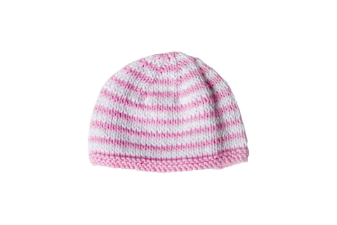 Hand Knit Striped Rose Hat