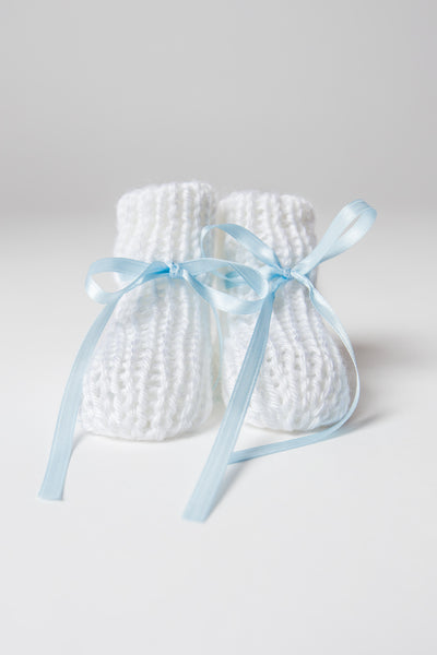 Hand-knit White Booties with Sky Blue Ribbon