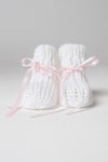 White Hand-Knit Booties with Rose Ribbon