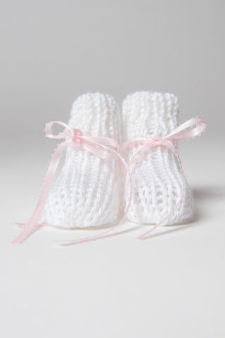 Hand-Knit White Booties with Rose Ribbon