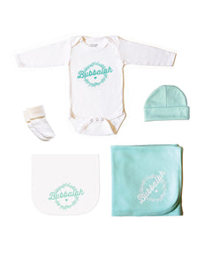 Green infant newborn baby clothing gift set of long-sleeved onesie, hat, blanket, burp cloth, socks with Yiddish designs sayings