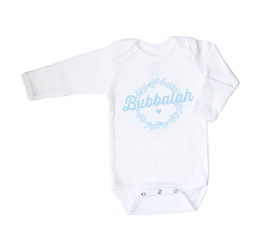 Bubbalah Long-Sleeved White Onesie with Mittens in Sky BIue ink