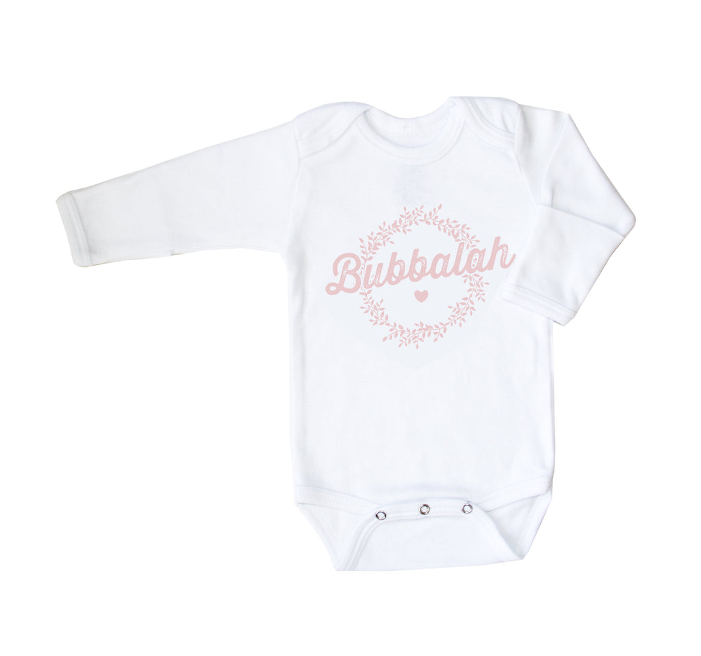 White Long Sleeve Bubbalah Onesie with Pink Ink and Mittens