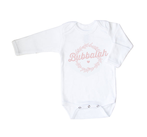 Bubbalah Long Sleeved White Onesie with Mittens in Rose Ink