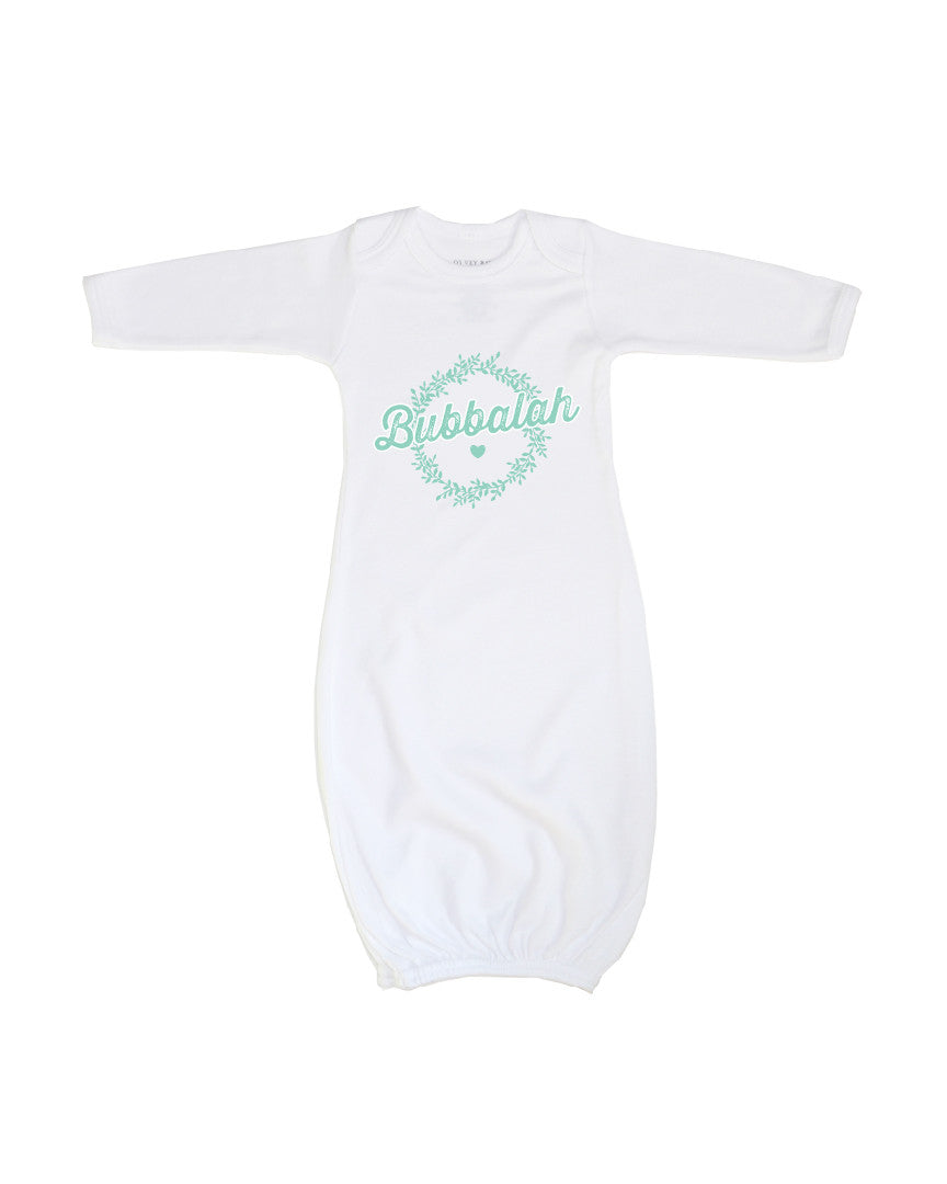 Green infant baby newborn clothing gown with Yiddish design