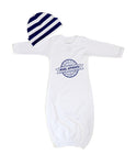 Bris infant newborn baby boy gift set of baby white gown with striped hat and Jewish design.