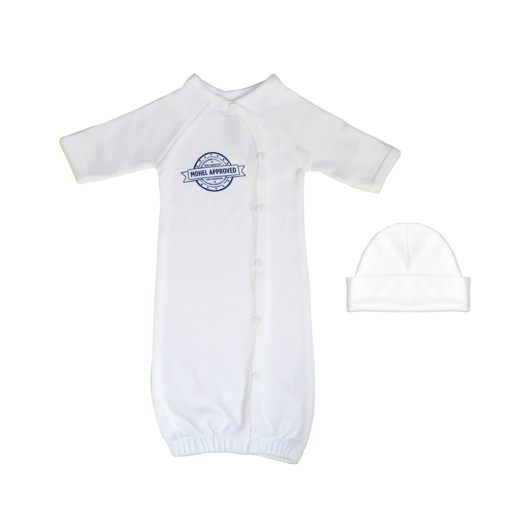 Bris infant newborn premmie gift set of white baby boy gown with white hat and Jewish design.
