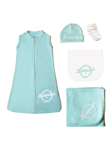 Green Infant baby newborn clothing gift set with sac, hat, socks, blanket, burp cloth with Yiddish design