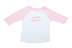 Shpilkis Happens  2T Raglan Sleeve Rose Petal Baseball Shirt