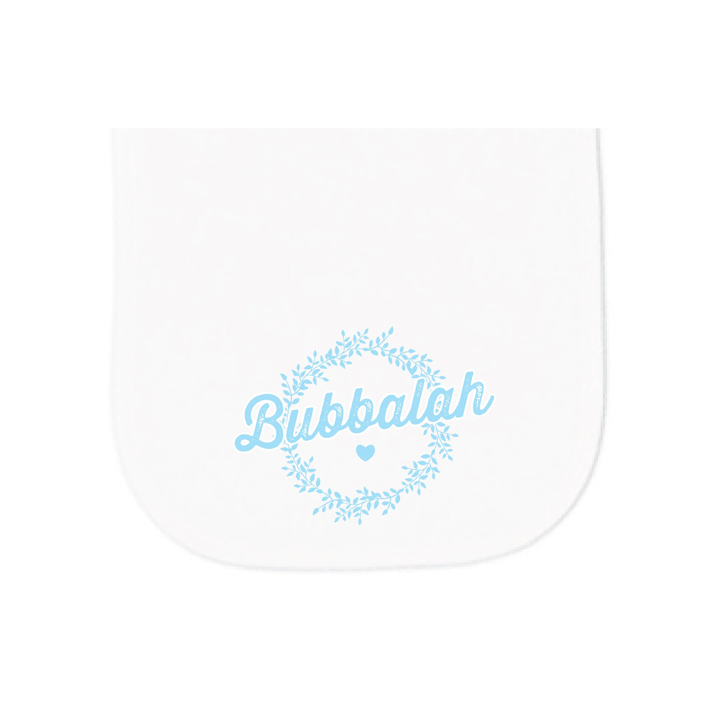 Bubbalah White Burp cloth with Sky Blue ink